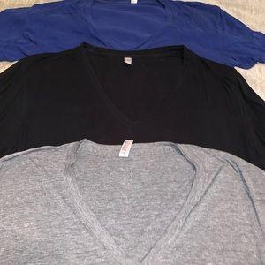 3 American Apparel Deep V Neck Tee XL